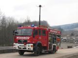 Löschgruppenfahrzeug LF 14 vom Löschzug Willebadessen mit ausgefahrenem Lichtmast